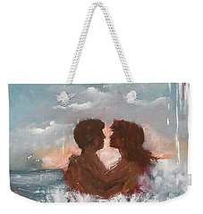 Weekender Tote Bag featuring the painting Lovers by Miroslaw  Chelchowski
