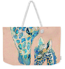 Loving Giraffes Family- Coral Weekender Tote Bag by Jane Schnetlage