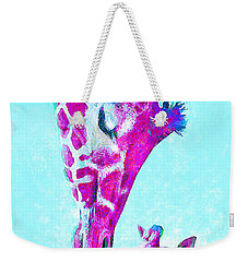 Loving Giraffes- Magenta Weekender Tote Bag by Jane Schnetlage