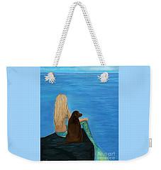 Weekender Tote Bag featuring the painting Loving Lab Loyalty by Leslie Allen