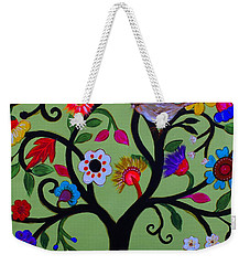 Weekender Tote Bag featuring the painting Loving Tree Of Life by Pristine Cartera Turkus