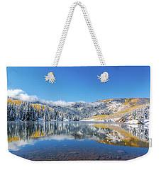 Lower Cataract Lake Fall Snow Scene Weekender Tote Bag