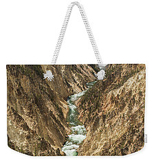 Lower Falls Of The Yellowstone - Portrait Weekender Tote Bag