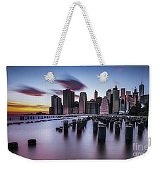 Lower Manhattan Purple Sunset Weekender Tote Bag