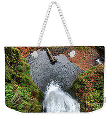 Weekender Tote Bag featuring the photograph Lower Multnomah Falls From Benson Bridge - Columbia Gorge by Gary Whitton