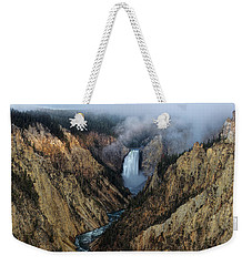 Lower Yellowstone Falls Sunrise Weekender Tote Bag