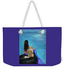 Weekender Tote Bag featuring the painting Loyal Loving Buddy by Leslie Allen