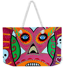 Weekender Tote Bag featuring the painting Lucha Libre by Pristine Cartera Turkus