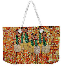 Weekender Tote Bag featuring the painting Lucky Seven by Donna Howard