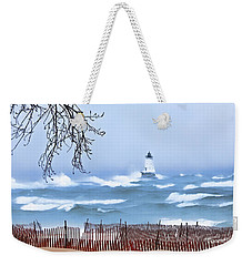 Ludington Winter Shore  Weekender Tote Bag by Dick Bourgault