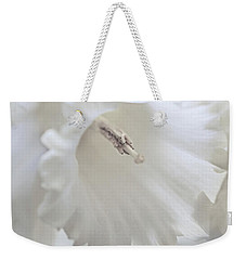 Weekender Tote Bag featuring the photograph Luminous Ivory Daffodil Flower by Jennie Marie Schell
