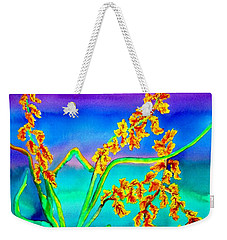 Weekender Tote Bag featuring the painting Luminous Oats by Lil Taylor