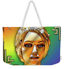 Weekender Tote Bag featuring the digital art Luna Loves Deco by Chuck Staley