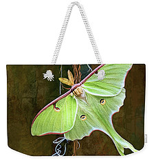 Weekender Tote Bag featuring the digital art Luna Moth by Thanh Thuy Nguyen