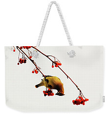 Lunchtime - Cedar Waxwing Weekender Tote Bag by Andrea Kollo