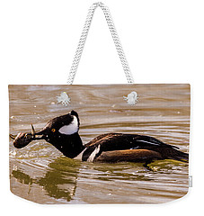 Lunchtime For The Hooded Merganser Weekender Tote Bag by Randy Scherkenbach