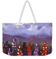 Weekender Tote Bag featuring the painting Lupine Land #1 by Anastasiya Malakhova