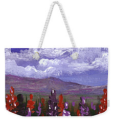 Weekender Tote Bag featuring the painting Lupine Land #3 by Anastasiya Malakhova