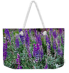Weekender Tote Bag featuring the painting Lupines Stand Proud by Jennifer Lake