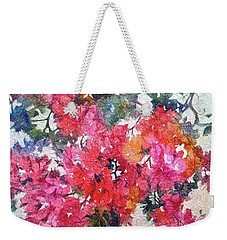 Weekender Tote Bag featuring the painting Luscious Bougainvillea by Michelle Abrams