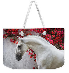 Lusitano Portrait In Red Flowers Weekender Tote Bag