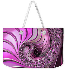 Weekender Tote Bag featuring the digital art Luxe Pink Fractal Spiral by Matthias Hauser