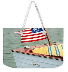 Vintage Mahogany Lyman Runabout Boat With Navy Flag Weekender Tote Bag