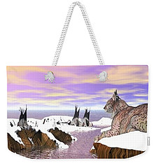 Weekender Tote Bag featuring the digital art Lynx Watcher Render by Darren Cannell