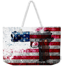 M1911 Colt 45 And American Flag On Distressed Metal Sheet Weekender Tote Bag