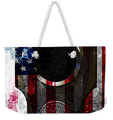 M1911 Colt 45 Muzzle And American Flag On Distressed Metal Sheet Weekender Tote Bag