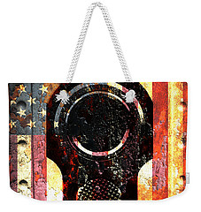 M1911 Colt 45 On Rusted American Flag Weekender Tote Bag