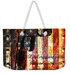 M1911 Pistol And Second Amendment On Rusted American Flag Weekender Tote Bag