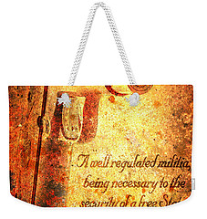 M1911 Pistol And Second Amendment On Rusted Overlay Weekender Tote Bag