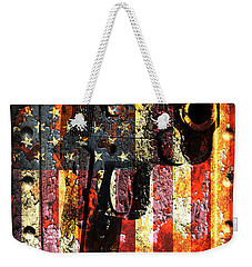 M1911 Silhouette On Rusted American Flag Weekender Tote Bag