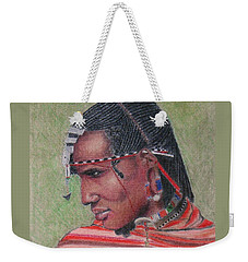Maasai Warrior II -- Portrait Of African Tribal Man Weekender Tote Bag