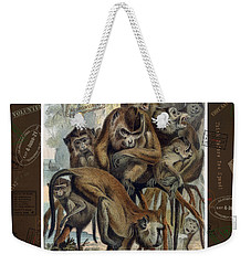 Weekender Tote Bag featuring the digital art Macaques For Responsible Travel by Nola Lee Kelsey