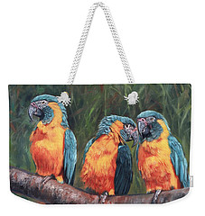 Weekender Tote Bag featuring the painting Macaws by David Stribbling