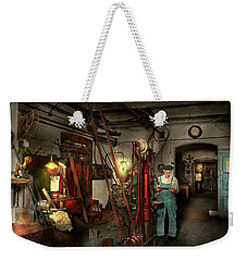 Weekender Tote Bag featuring the photograph Machinist - Government Approved 1919 by Mike Savad
