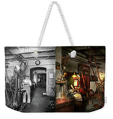 Weekender Tote Bag featuring the photograph Machinist - Government Approved 1919 - Side By Side by Mike Savad