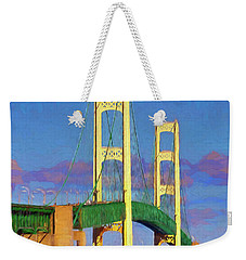 Weekender Tote Bag featuring the photograph Mackinac Bridge by Trey Foerster