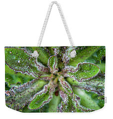 Weekender Tote Bag featuring the photograph Macro Of A Weed by Jean Haynes
