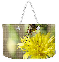 Macro Photography Of A Mosquito Over A Lettuce Flower Weekender Tote Bag by Claudia Ellis