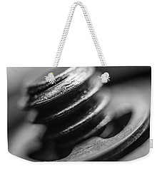 Macro Screw Bolt Black White Weekender Tote Bag by David Haskett