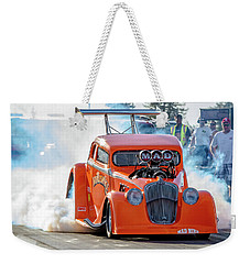 Weekender Tote Bag featuring the photograph Mad Mike Racing by Bill Gallagher