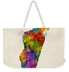 Weekender Tote Bag featuring the digital art Madagascar Watercolor Map by Michael Tompsett