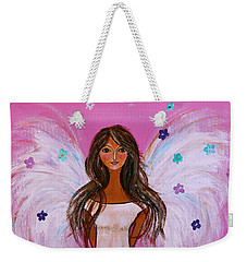 Weekender Tote Bag featuring the painting Pink Angel Of Life by Pristine Cartera Turkus