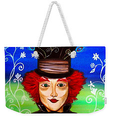 Weekender Tote Bag featuring the painting Madhatter by Pristine Cartera Turkus