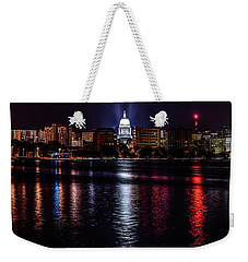 Madison Skyline At Night Weekender Tote Bag by Randy Scherkenbach