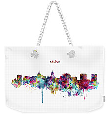 Weekender Tote Bag featuring the mixed media Madison Skyline Silhouette by Marian Voicu