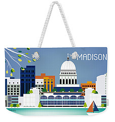 Madison Wisconsin Horizontal Skyline Weekender Tote Bag by Karen Young